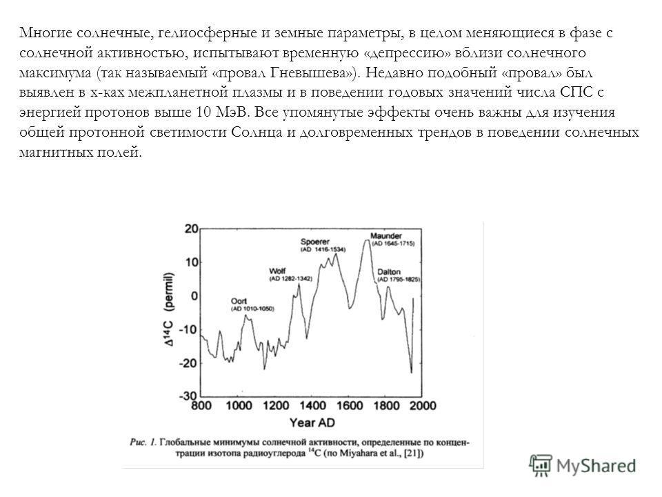 Многие солнечные, гелиосферные и земные параметры, в целом меняющиеся в фазе с солнечной активностью, испытывают временную «депрессию» вблизи солнечного максимума (так называемый «провал Гневышева»). Недавно подобный «провал» был выявлен в х-ках межп