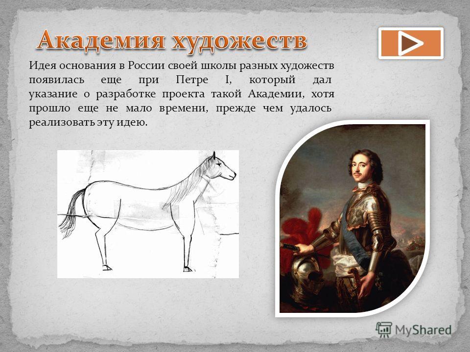 Идея основания в России своей школы разных художеств появилась еще при Петре I, который дал указание о разработке проекта такой Академии, хотя прошло еще не мало времени, прежде чем удалось реализовать эту идею.