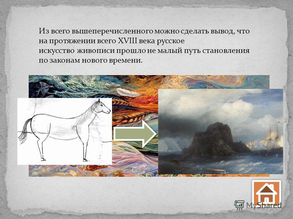 Из всего вышеперечисленного можно сделать вывод, что на протяжении всего XVIII века русское искусство живописи прошло не малый путь становления по законам нового времени.