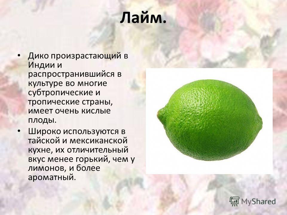 Лайм. Дико произрастающий в Индии и распространившийся в культуре во многие субтропические и тропические страны, имеет очень кислые плоды. Широко используются в тайской и мексиканской кухне, их отличительный вкус менее горький, чем у лимонов, и более
