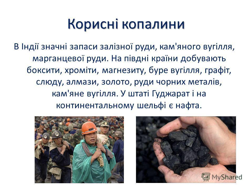 Корисні копалини В Індії значні запаси залізної руди, кам'яного вугілля, марганцевої руди. На півдні країни добувають боксити, хроміти, магнезиту, буре вугілля, графіт, слюду, алмази, золото, руди чорних металів, кам'яне вугілля. У штаті Гуджарат і н