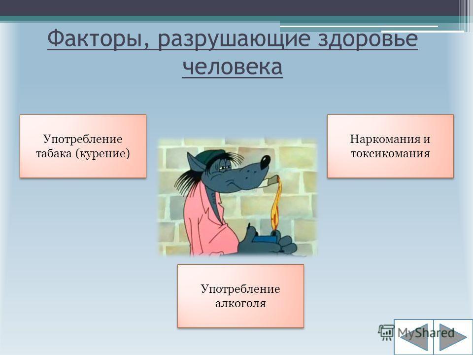 Факторы, разрушающие здоровье человека Употребление табака (курение) Употребление алкоголя Наркомания и токсикомания