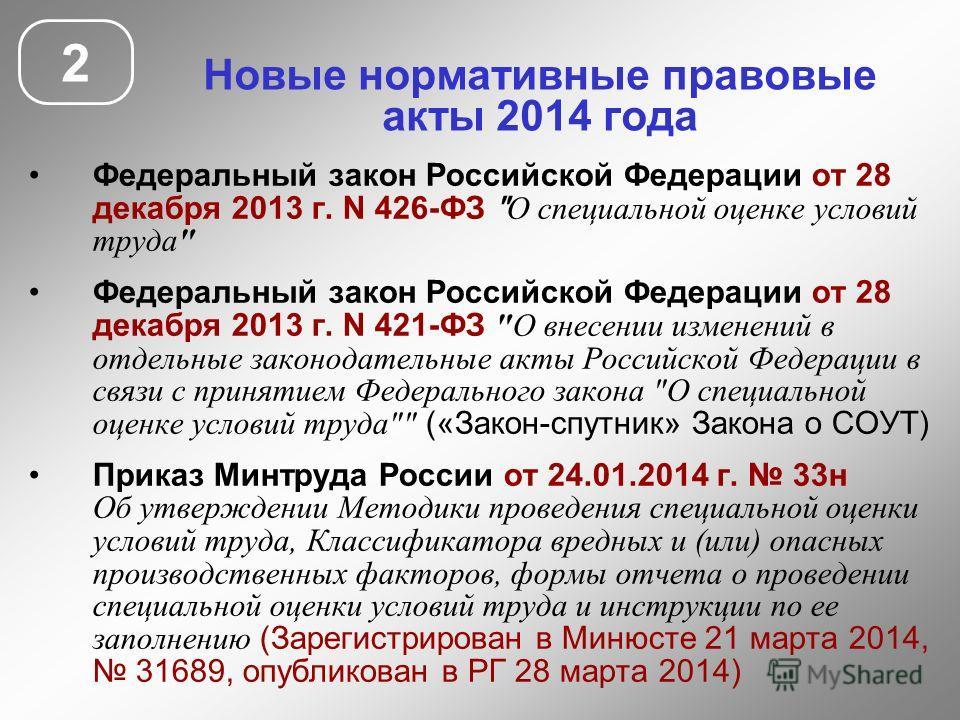 Новые нормативные правовые акты 2014 года Федеральный закон Российской Федерации от 28 декабря 2013 г. N 426-ФЗ
