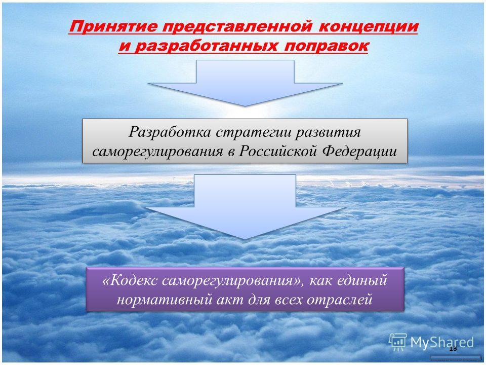 Принятие представленной концепции и разработанных поправок Разработка стратегии развития саморегулирования в Российской Федерации «Кодекс саморегулирования», как единый нормативный акт для всех отраслей 13