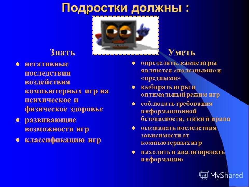 Предупреждение компьютерной зависимости Обучить «правилам безопасности» в виртуальном мире. Соблюдать основной принцип ослабления зависимости – замещение. Использовать различные контролирующие программы. Устанавливать чёткие требования к использовани