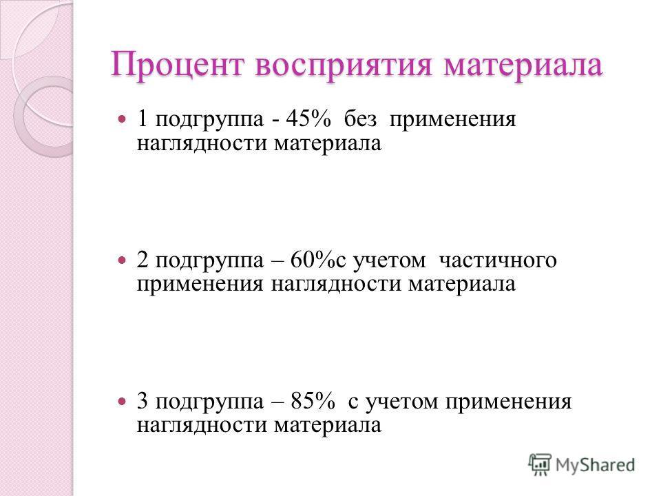 Процент восприятия материала 1 подгруппа - 45% без применения наглядности материала 2 подгруппа – 60%с учетом частичного применения наглядности материала 3 подгруппа – 85% с учетом применения наглядности материала