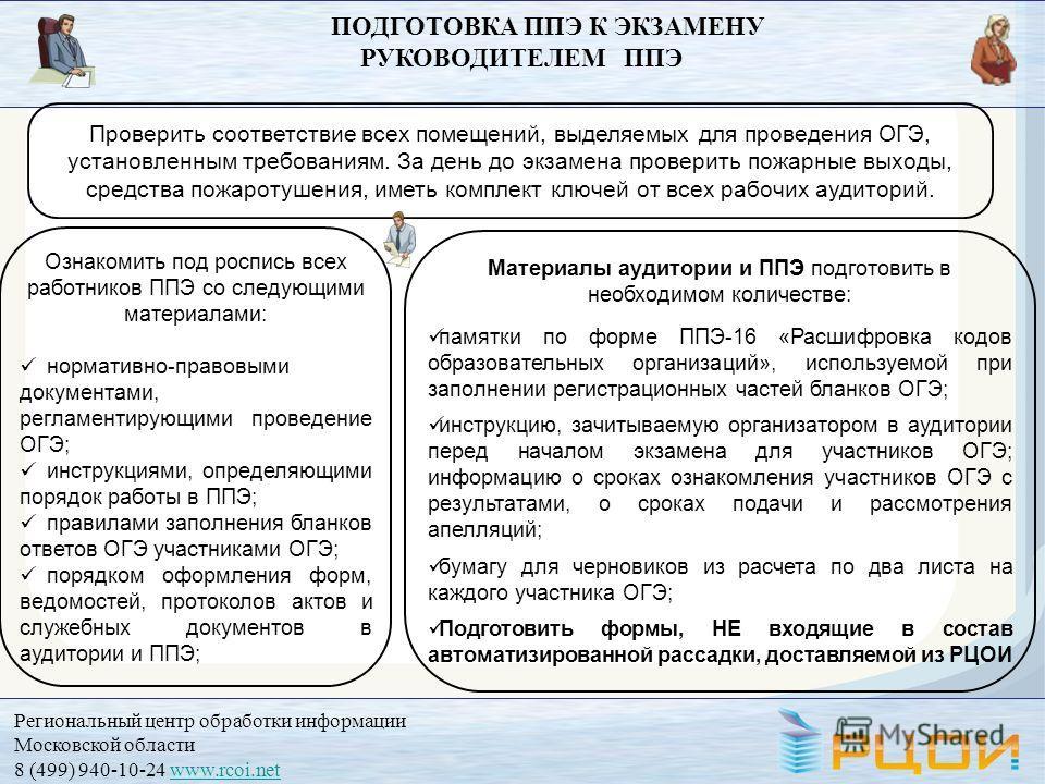 Региональный центр обработки информации Московской области 8 (499) 940-10-24 www.rcoi.netwww.rcoi.net Проверить соответствие всех помещений, выделяемых для проведения ОГЭ, установленным требованиям. За день до экзамена проверить пожарные выходы, сред