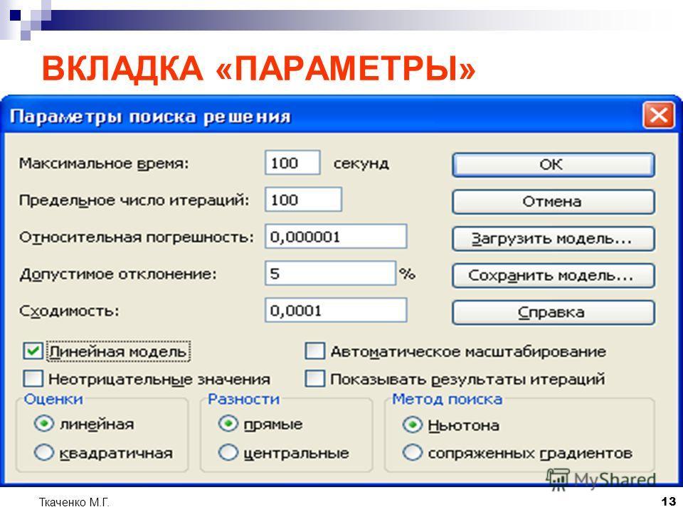 Ткаченко М.Г.13 ВКЛАДКА «ПАРАМЕТРЫ»