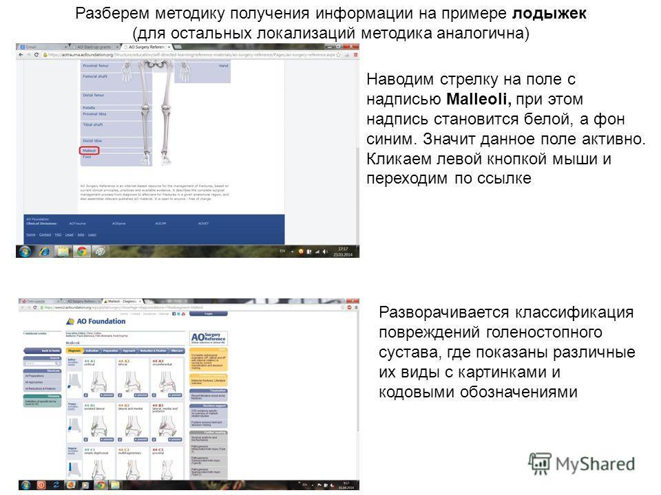 Разберем методику получения информации на примере лодыжек (для остальных локализаций методика аналогична) Наводим стрелку на поле с надписью Malleoli, при этом надпись становится белой, а фон синим. Значит данное поле активно. Кликаем левой кнопкой м