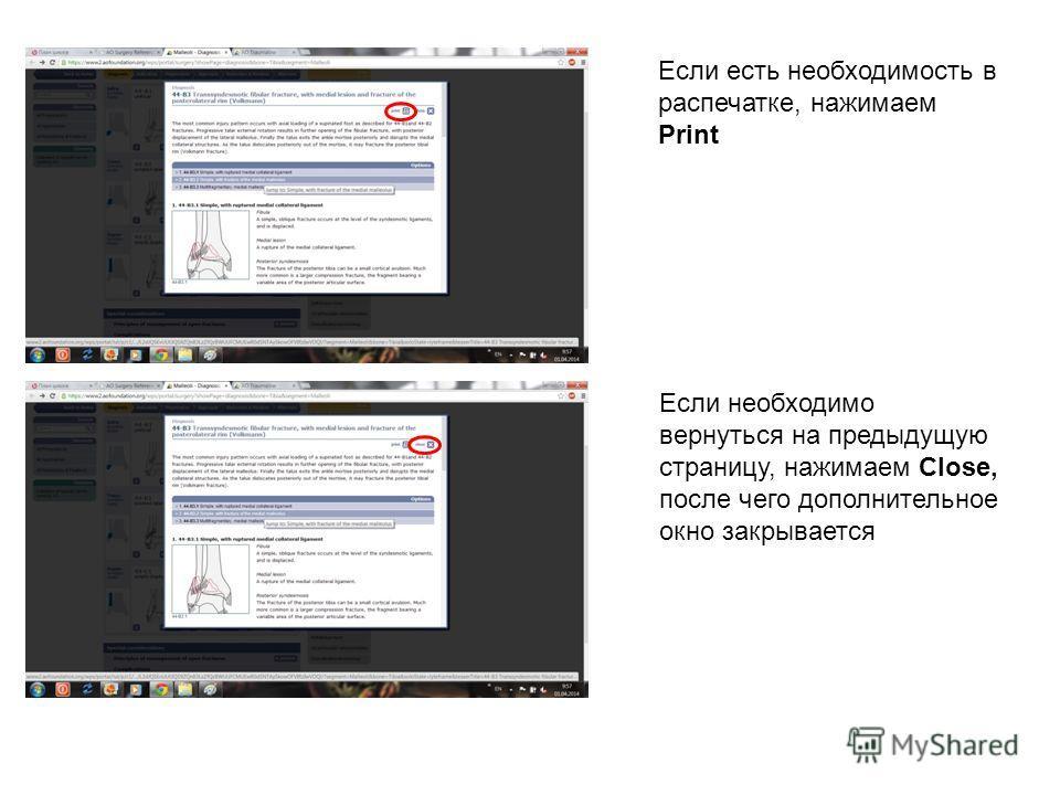 Если есть необходимость в распечатке, нажимаем Print Если необходимо вернуться на предыдущую страницу, нажимаем Close, после чего дополнительное окно закрывается