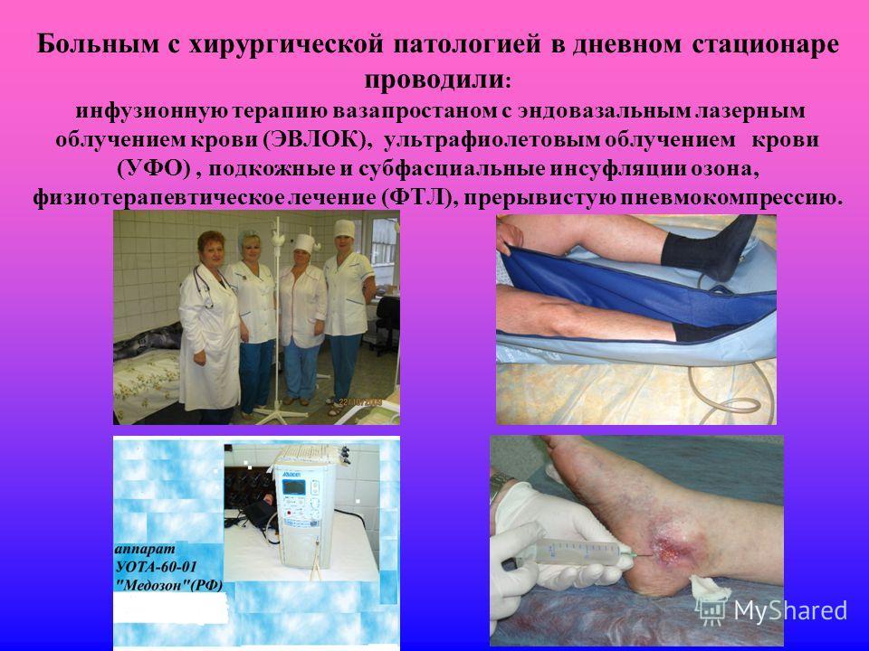 Больным с хирургической патологией в дневном стационаре проводили : инфузионную терапию вазапростаном с эндовазальным лазерным облучением крови (ЭВЛОК), ультрафиолетовым облучением крови (УФО), подкожные и субфасциальные инсуфляции озона, физиотерапе