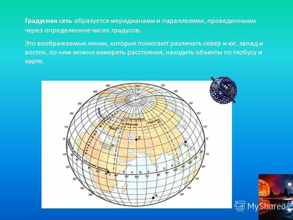 Градусная сеть образуется меридианами и параллелями, проведенными через определенное число градусов. Это воображаемые линии, которые помогают различать север и юг, запад и восток, по ним можно измерять расстояния, находить объекты по глобусу и карте.