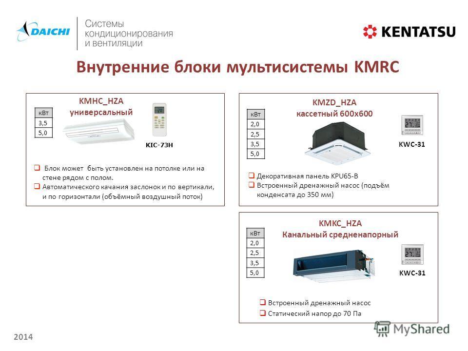 2014 Внутренние блоки мультисистемы KMRC кВт 3,5 5,0 KМHC_HZA универсальный Блок может быть установлен на потолке или на стене рядом с полом. Автоматического качания заслонок и по вертикали, и по горизонтали (объёмный воздушный поток) KIC-73H KМZD_HZ