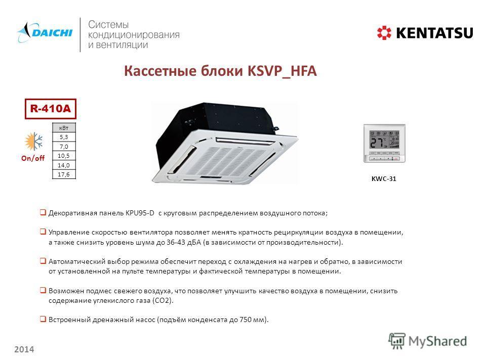 2014 Кассетные блоки KSVP_HFA KWC-31 Декоративная панель KPU95-D с круговым распределением воздушного потока; Управление скоростью вентилятора позволяет менять кратность рециркуляции воздуха в помещении, а также снизить уровень шума до 36-43 дБА (в з
