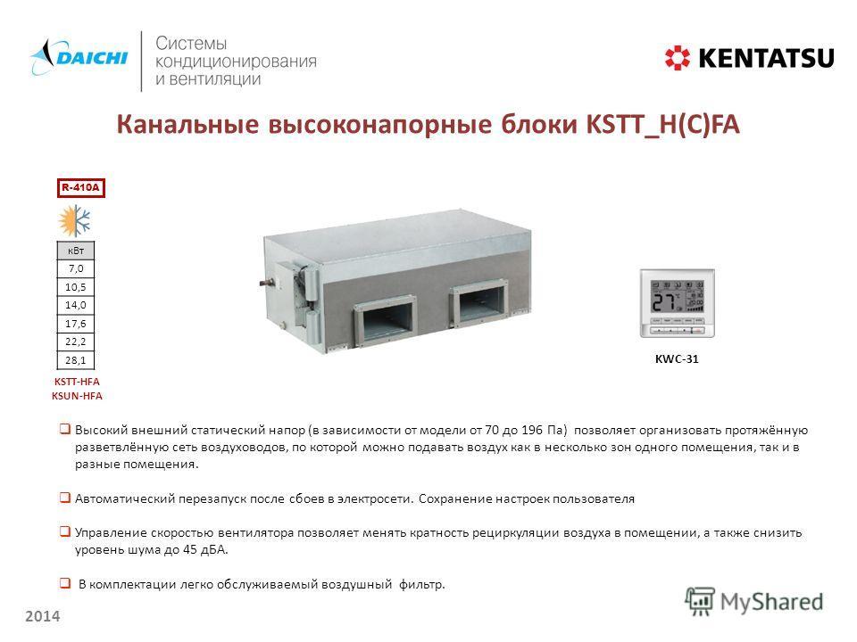 2014 Канальные высоконапорные блоки KSТT_H(С)FA R-410A кВт 7,0 10,5 14,0 17,6 22,2 28,1 KSTT-HFA KSUN-HFA KWC-31 Высокий внешний статический напор (в зависимости от модели от 70 до 196 Па) позволяет организовать протяжённую разветвлённую сеть воздухо