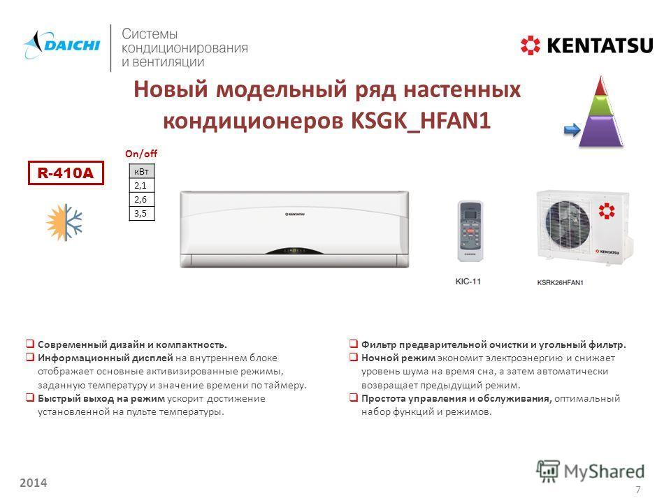 2014 Новый модельный ряд настенных кондиционеров KSGK_HFAN1 кВт 2,1 2,6 3,5 Современный дизайн и компактность. Информационный дисплей на внутреннем блоке отображает основные активизированные режимы, заданную температуру и значение времени по таймеру.