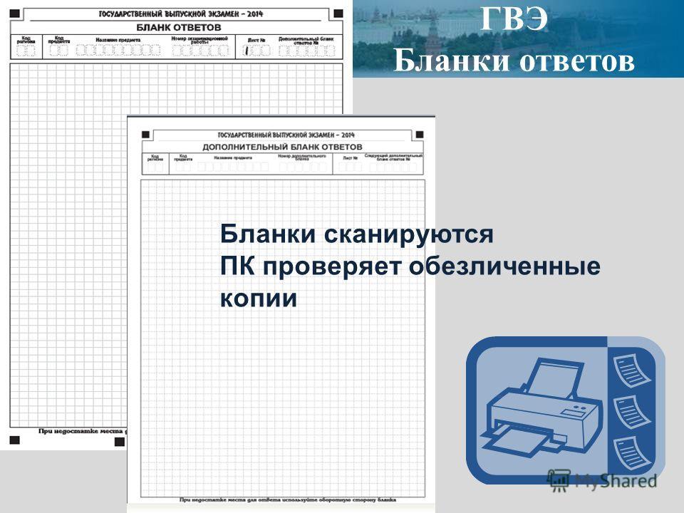 ГВЭ Бланки ответов Бланки сканируются ПК проверяет обезличенные копии