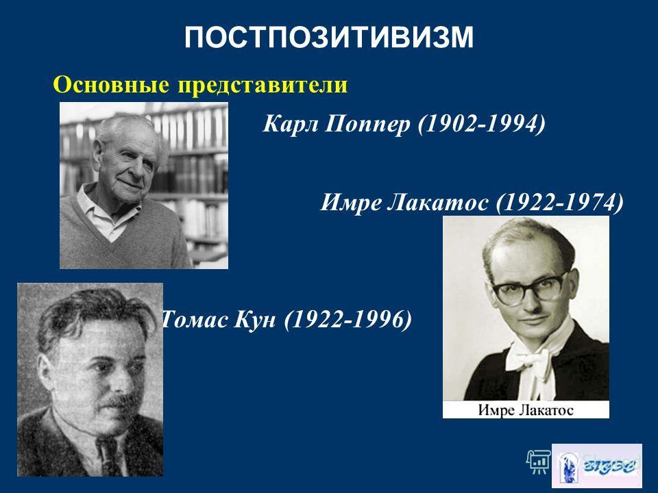 ПОСТПОЗИТИВИЗМ Основные представители Карл Поппер (1902-1994) Имре Лакатос (1922-1974) Томас Кун (1922-1996)
