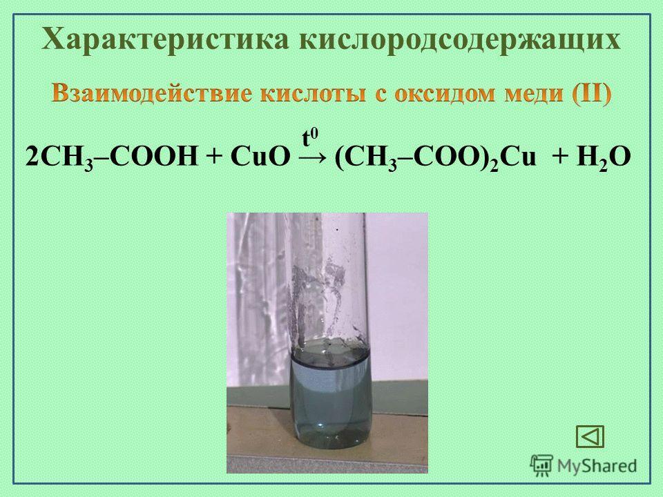 2СН 3 –СООН + CuO (СН 3 –СОО) 2 Cu + H 2 O t0t0