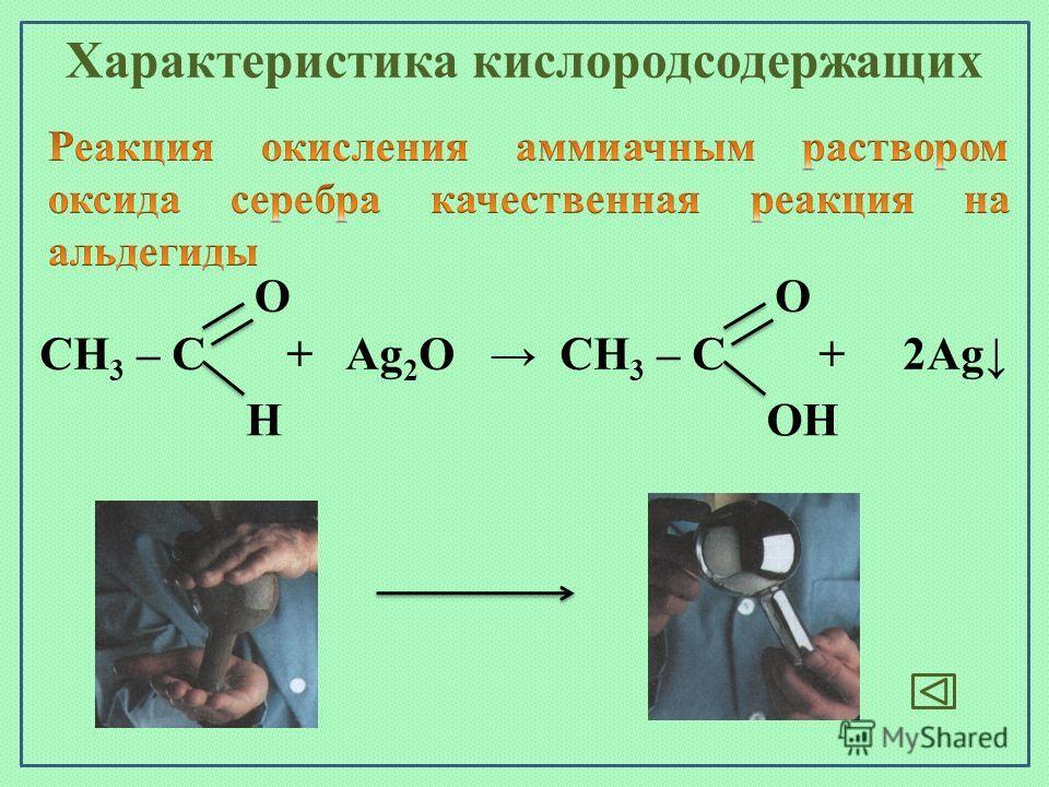 СН 3 – С + Ag 2 O СН 3 – С + 2Ag HOH OO Характеристика кислородсодержащих