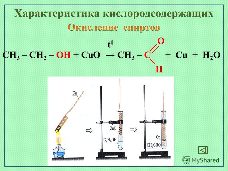 CH 3 – CH 2 – OH + CuO CH 3 – C + Cu + H 2 O t0t0 O H Характеристика кислородсодержащих