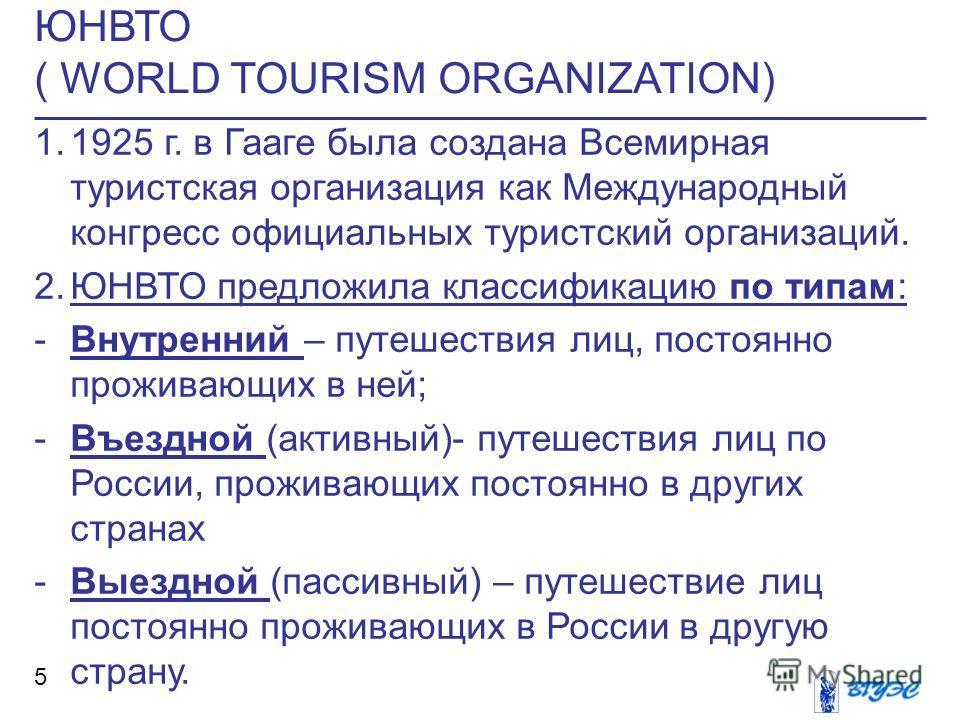 ЮНВТО ( WORLD TOURISM ORGANIZATION) 5 1.1925 г. в Гааге была создана Всемирная туристская организация как Международный конгресс официальных туристский организаций. 2.ЮНВТО предложила классификацию по типам: -Внутренний – путешествия лиц, постоянно п