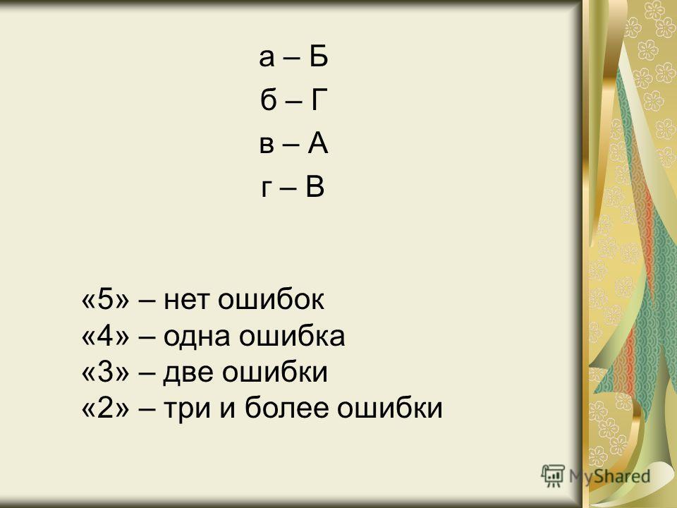 а – Б б – Г в – А г – В «5» – нет ошибок «4» – одна ошибка «3» – две ошибки «2» – три и более ошибки
