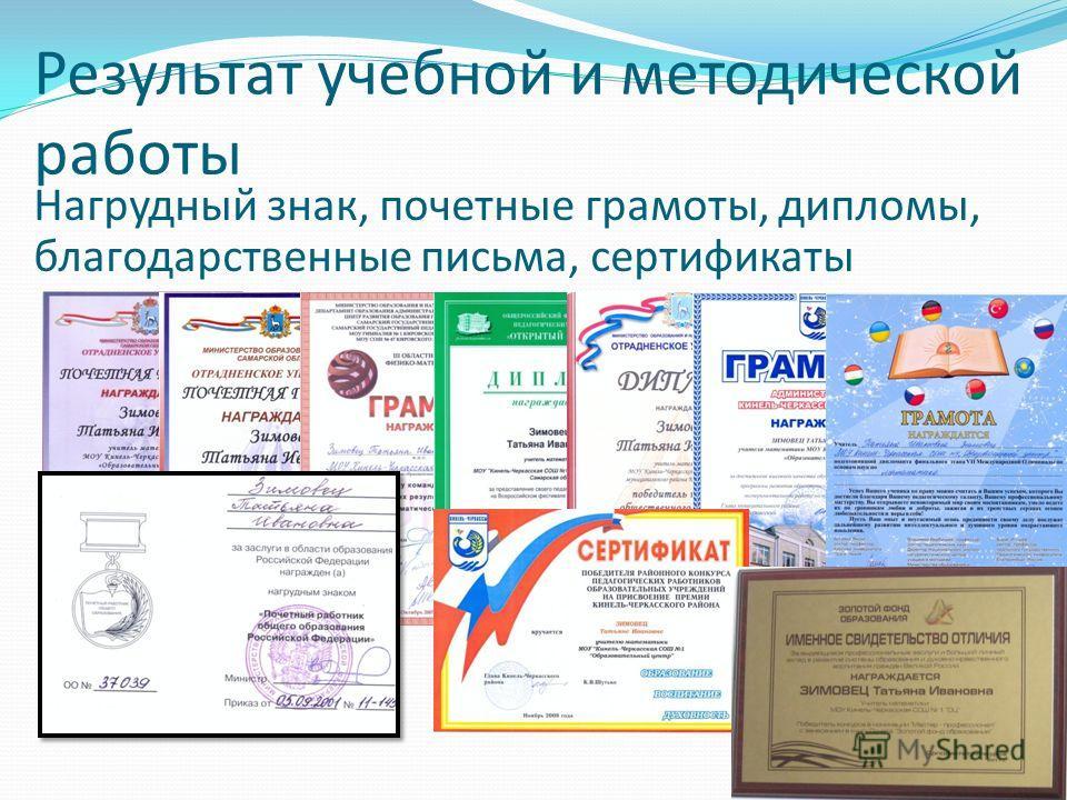 Результат учебной и методической работы Нагрудный знак, почетные грамоты, дипломы, благодарственные письма, сертификаты