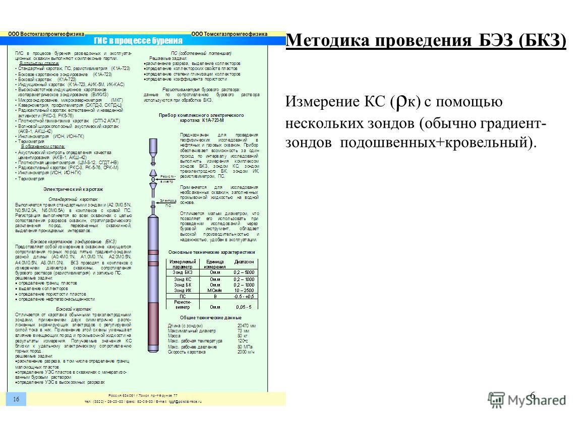 ЗОНДЫ КС И БЭЗ Методика проведения БЭЗ (БКЗ) Измерение КС ( ρ к) с помощью нескольких зондов (обычно градиент- зондов подошвенных+кровельный). 6