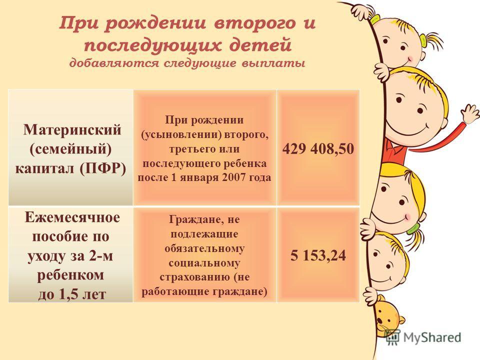 Материнский (семейный) капитал (ПФР) При рождении (усыновлении) второго, третьего или последующего ребенка после 1 января 2007 года 429 408,50 Ежемесячное пособие по уходу за 2-м ребенком до 1,5 лет Граждане, не подлежащие обязательному социальному с