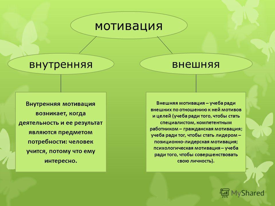 мотивация внутренняя внешняя Внутренняя мотивация возникает, когда деятельность и ее результат являются предметом потребности: человек учится, потому что ему интересно. Внешняя мотивация – учеба ради внешних по отношению к ней мотивов и целей (учеба