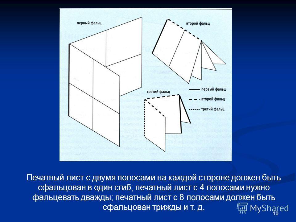 10 Печатный лист с двумя полосами на каждой стороне должен быть сфальцован в один сгиб; печатный лист с 4 полосами нужно фальцевать дважды; печатный лист с 8 полосами должен быть сфальцован трижды и т. д.