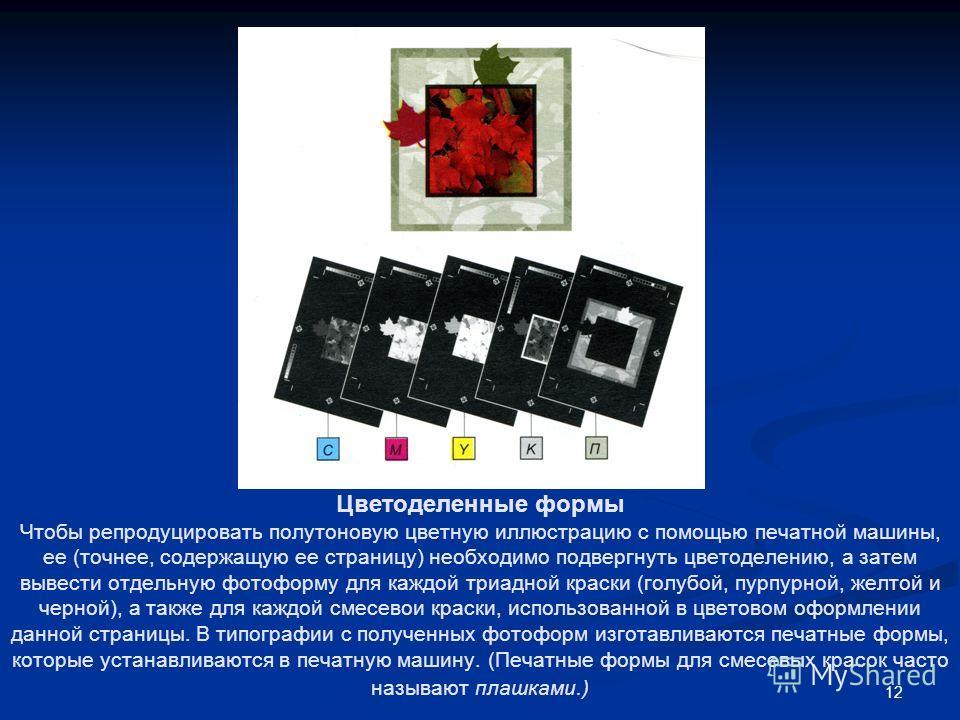 12 Цветоделенные формы Чтобы репродуцировать полутоновую цветную иллюстрацию с помощью печатной машины, ее (точнее, содержащую ее страницу) необходимо подвергнуть цветоделению, а затем вывести отдельную фотоформу для каждой триадной краски (голубой,