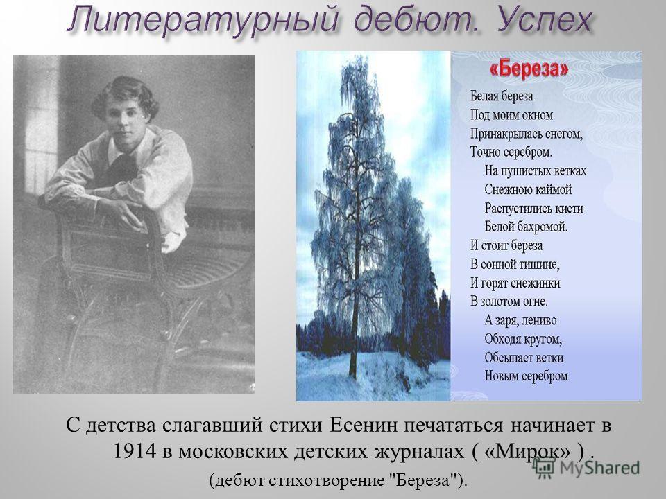 С детства слагавший стихи Есенин печататься начинает в 1914 в московских детских журналах ( « Мирок » ). ( дебют стихотворение  Береза ).