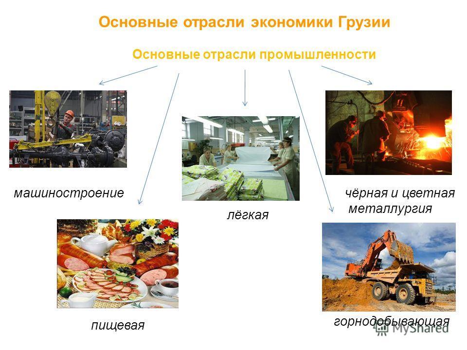 Основные отрасли экономики Грузии Основные отрасли промышленности машиностроение пищевая лёгкая чёрная и цветная металлургия горнодобывающая