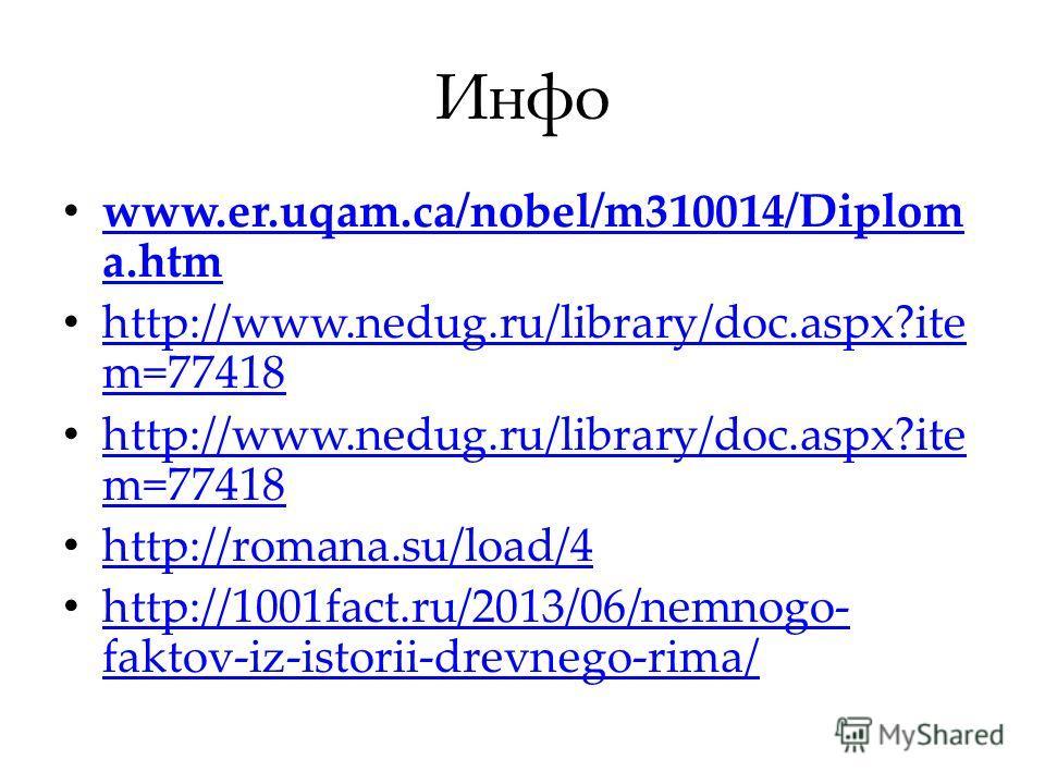 Инфо www.er.uqam.ca/nobel/m310014/Diplom a.htm www.er.uqam.ca/nobel/m310014/Diplom a.htm http://www.nedug.ru/library/doc.aspx?ite m=77418 http://www.nedug.ru/library/doc.aspx?ite m=77418 http://www.nedug.ru/library/doc.aspx?ite m=77418 http://www.ned