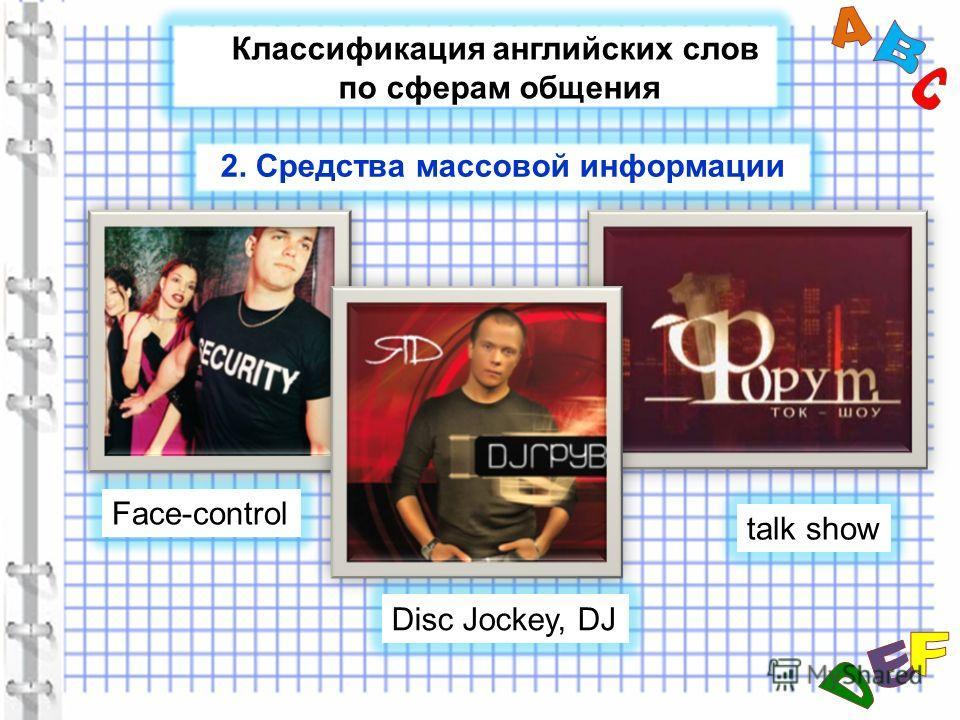 Классификация английских слов по сферам общения Face-control talk show Disc Jockey, DJ