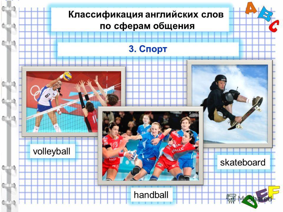 Классификация английских слов по сферам общения volleyball skateboard handball