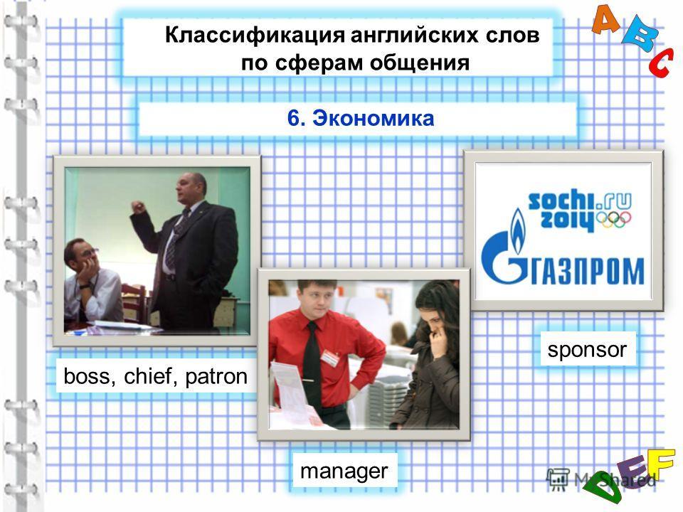 Классификация английских слов по сферам общения boss, chief, patron sponsor manager