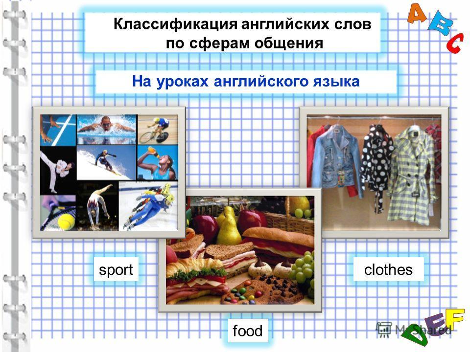 Классификация английских слов по сферам общения sportclothes food