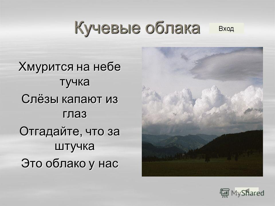 Кучевые облака Хмурится на небе тучка Слёзы капают из глаз Отгадайте, что за штучка Это облако у нас Вход