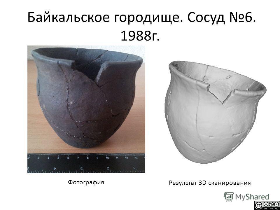 Байкальское городище. Сосуд 6. 1988г. Фотография Результат 3D сканирования