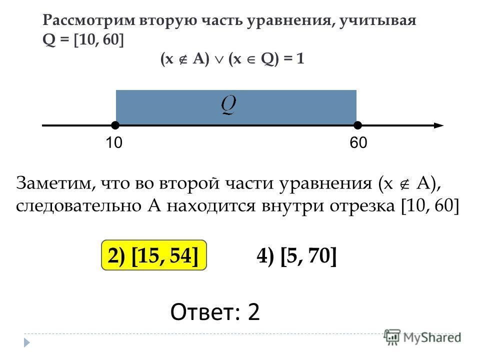 Рассмотрим вторую часть уравнения, учитывая Q = 10, 60 (х А) (х Q) = 1 1010 6060 2) [15, 54] 4) [5, 70] Заметим, что во второй части уравнения (х А), следовательно А находится внутри отрезка 10, 60 Ответ: 2