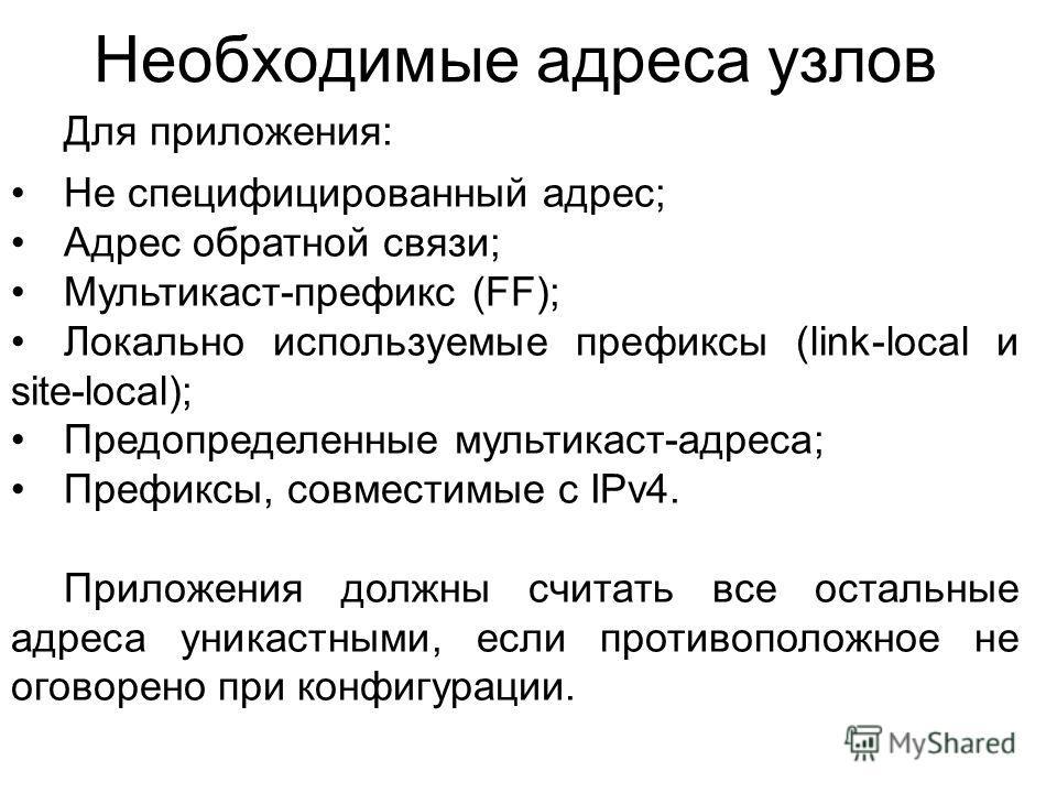 Необходимые адреса узлов Для приложения: Не специфицированный адрес; Адрес обратной связи; Мультикаст-префикс (FF); Локально используемые префиксы (link-local и site-local); Предопределенные мультикаст-адреса; Префиксы, совместимые с IPv4. Приложения
