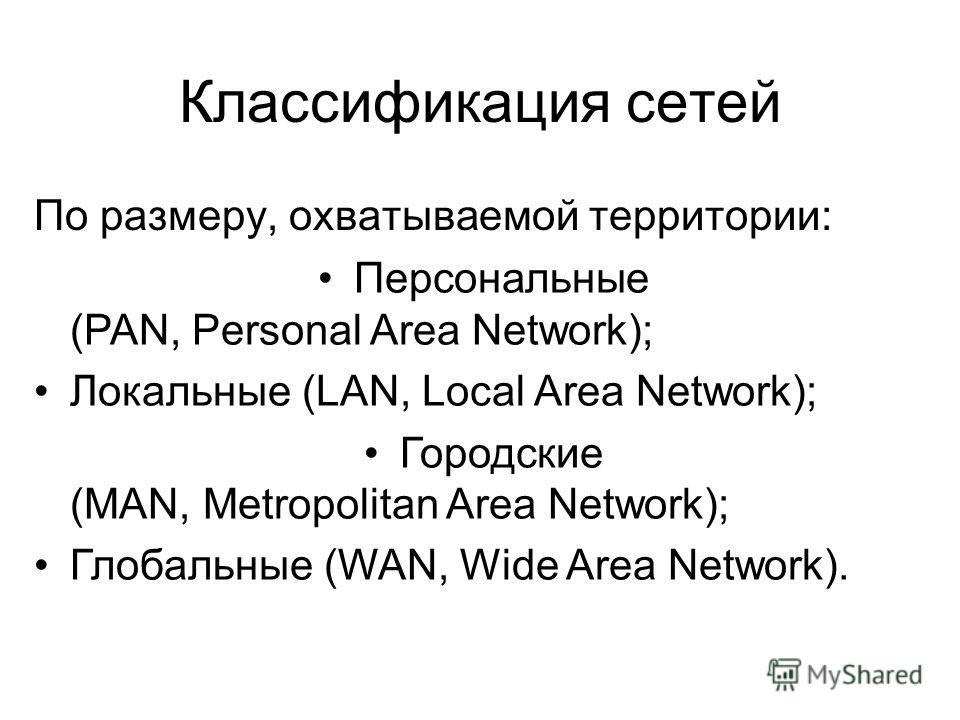 Классификация сетей По размеру, охватываемой территории: Персональные (PAN, Personal Area Network); Локальные (LAN, Local Area Network); Городские (MAN, Metropolitan Area Network); Глобальные (WAN, Wide Area Network).
