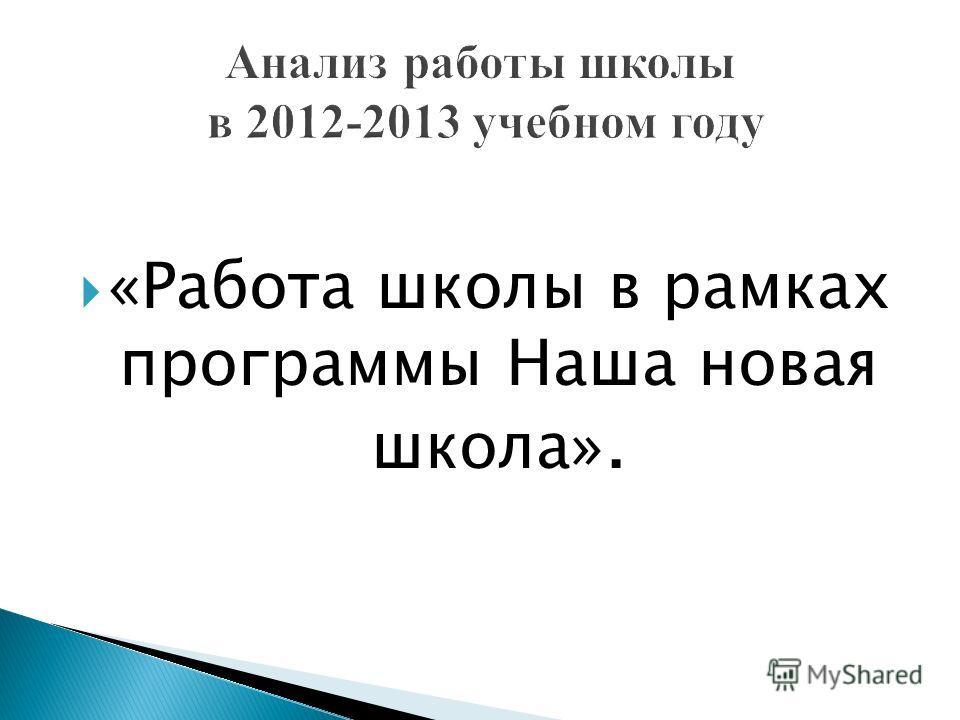 «Работа школы в рамках программы Наша новая школа».
