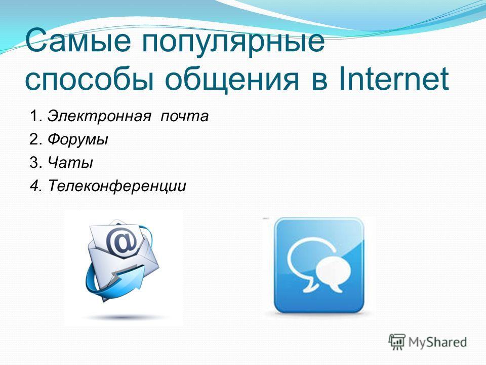 Самые популярные способы общения в Internet 1. Электронная почта 2. Форумы 3. Чаты 4. Телеконференции