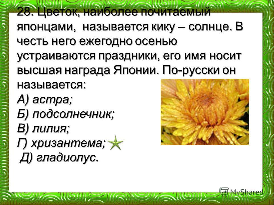 28. Цветок, наиболее почитаемый японцами, называется кику – солнце. В честь него ежегодно осенью устраиваются праздники, его имя носит высшая награда Японии. По-русски он называется: А) астра; Б) подсолнечник; В) лилия; Г) хризантема; Д) гладиолус. Д