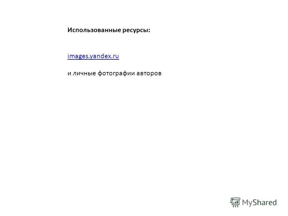Использованные ресурсы: images.yandex.ru и личные фотографии авторов