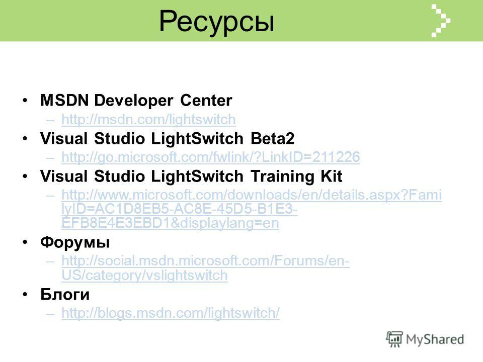 Ресурсы MSDN Developer Center –http://msdn.com/lightswitch Visual Studio LightSwitch Beta2 –http://go.microsoft.com/fwlink/?LinkID=211226 Visual Studio LightSwitch Training Kit –http://www.microsoft.com/downloads/en/details.aspx?Fami lyID=AC1D8EB5-AC